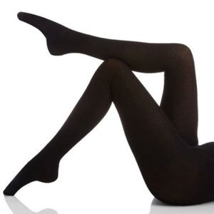 HALSTON black footed ribbed sweater tights